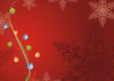 Christmas background. Red christmas background with snowflakes en balls Royalty Free Stock Photos