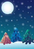 Christmas background. With trees, month and snowflakes Stock Image