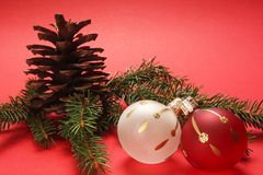Christmas background. Christmas decoration on a red background Royalty Free Stock Photos