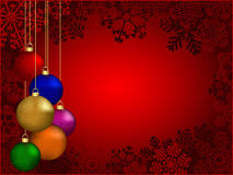 Christmas background. With colorful decorative balls stock illustration