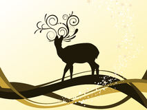 Christmas background. Vector illustration of a deer and christmasy elements Stock Images