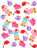 Christmas Background. /pattern with gift box, hat, teddy,and ball Stock Photography