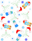 Christmas background. With teddy,trees,hat, snowflakes,stars Royalty Free Stock Images