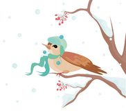 Christmas background. Vector illustration of the seasonal background with little bird ob the branch of the tree Stock Photo