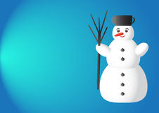 Christmas background. With snowman on blue background Royalty Free Stock Image