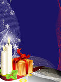 Christmas background. With candles and a gift package with christmas decoration royalty free illustration