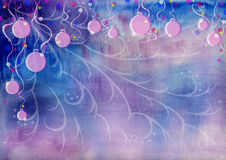 Christmas background. Christmas water colour background with balls Stock Photography