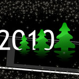 Christmas background. Black christmas background with inscription 2010 & green firs, this illustration may be usefull as designer work Stock Photos