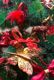 Christmas background. Closeup of decorated Christmas tree stock photos