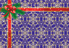 Christmas background. With a bow, tapes and branches of fur-trees royalty free illustration