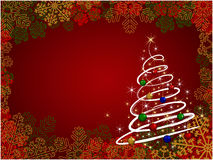Christmas background. With shiny christmas tree-vector illustration royalty free illustration