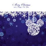 Christmas background 12. Merry Christmas and Happy New Year! Christmas card with snowflakes and christmas decorations on blue background,  illustration Royalty Free Stock Photo