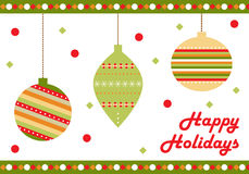 Christmas background. A christmas background with hanging balls and a Happy holidays text. EPS file available Royalty Free Stock Photography