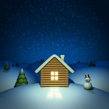 Christmas background. House with snowman Royalty Free Stock Photography