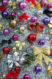 Christmas background. A colourful christmas background with ribons and balls royalty free stock photos