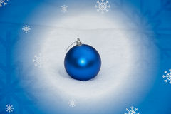 Christmas background. With blue decoration and snow Stock Photography