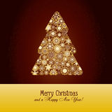 Christmas background 14. Christmas greetings card with fir tree made from gold snowflakes on brown background,  illustration additional Stock Photo