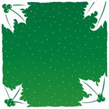 Christmas Background. Green Christmas Background with Holly Leaf Edges Royalty Free Stock Photos