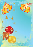 Christmas background. With balls in blue background Stock Photography