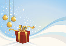 Christmas background. With gift box and christmas balls Royalty Free Stock Images