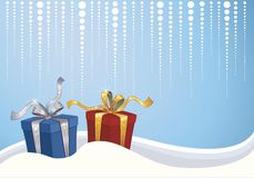 Christmas background. With ble and red gift box in the snow Stock Images