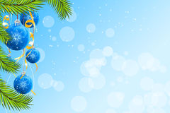 Christmas background. Abstract Christmas background with firtree and balls Stock Photos