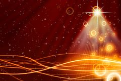 Christmas background. Christmas red background with bright beams from star Stock Photo