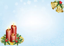Christmas background. A christmas background with candles, bells and holly Stock Photos