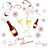 Christmas background. With glass of champagne Stock Photography