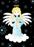 Christmas background. With an angel on a cloud, jpg and vector Stock Images