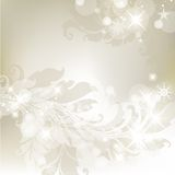 Christmas background. Light silver abstract Christmas background with winter plants and snowflakes Stock Image