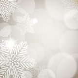 Christmas background. With festive lights and snowflakes Royalty Free Stock Photography