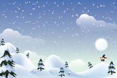Christmas background. Christmas landscape with moon and snowman, firtrees and house in the hills Royalty Free Stock Images