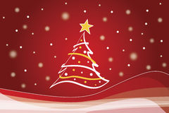 Christmas background. Illustration of Christmas tree with star in a winter scene royalty free illustration