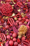 Christmas Background. Background of red and golden scented Christmas potpourri royalty free stock photography