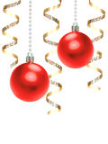 Christmas background. Hanging red Christmas baubles and gold ribbon background Royalty Free Stock Image