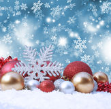 Christmas background. Decorative christmas background with decorations in snow Stock Photo