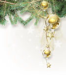 Christmas background. With golden globes Stock Images