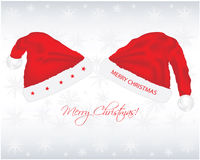 Christmas background. With santa hats Stock Photo