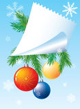 Christmas background. Christmas background with sheet of paper, colour ball and branch of the pine Royalty Free Stock Photo
