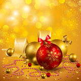 Christmas background. With red and golden baubles Stock Photo