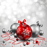 Christmas background. With red and silverbaubles Stock Image
