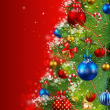 Christmas background. With baubles and christmas tree Stock Image