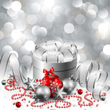 Christmas background. Beautiful silver and red christmas background Royalty Free Stock Images