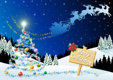 Christmas Background. A Christmas background with Snow and Santa Claus on the sky Royalty Free Stock Photography
