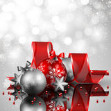 Christmas background. Beautiful silverand red christmas background Stock Image