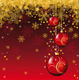 Christmas background. Bright background with red Christmas balls stock illustration