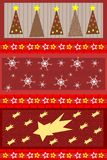 Christmas background with stars trees and snow Stock Image