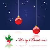 Christmas background 2. Illustration of a Christmas background showing a starry night sky with two Christmas decoration balls hanging from the top of the page Stock Photo