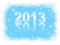 Christmas background  with 2013. Christmas and new year card  with 2013 on a blue winter background Royalty Free Stock Photography